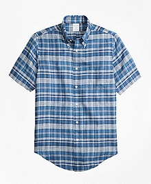 Regent Fit Plaid Irish Linen Short-Sleeve Sport Shirt