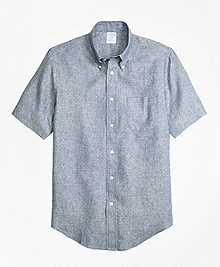 Regent Fit Dot  Irish Linen Short-Sleeve Sport Shirt