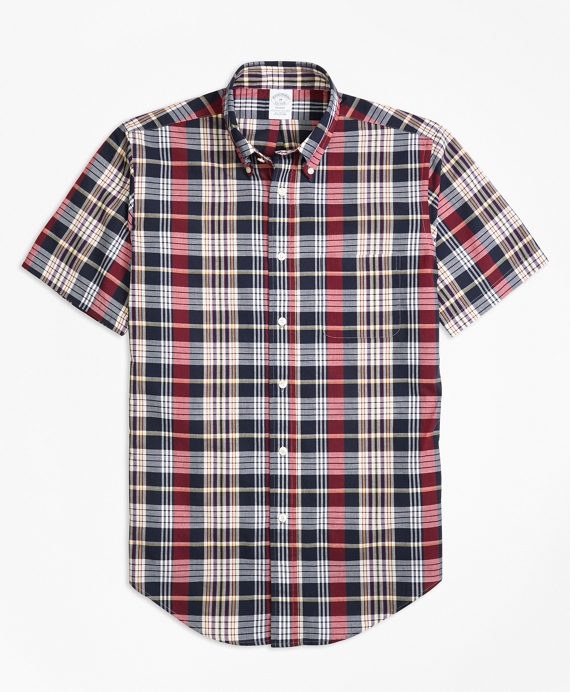 Regent Fit Madras Short-Sleeve Sport Shirt