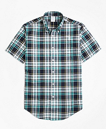 Regent Fit Green Madras Short-Sleeve Sport Shirt
