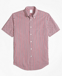Regent Fit Check Seersucker Short-Sleeve Sport Shirt