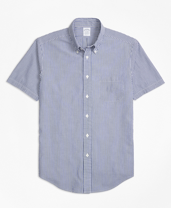 Regent Fit Stripe Seersucker Short-Sleeve Sport Shirt