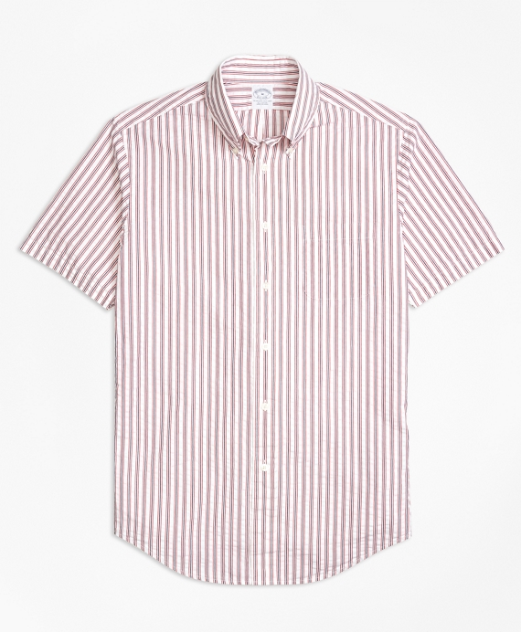 Regent Fit Triple Stripe Seersucker Short-Sleeve Sport Shirt