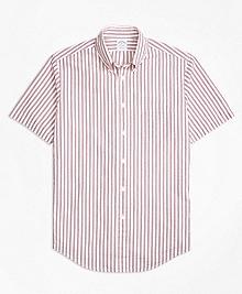 Regent Fit Triple Stripe Seersucker Short-Sleeve Sport Shirt