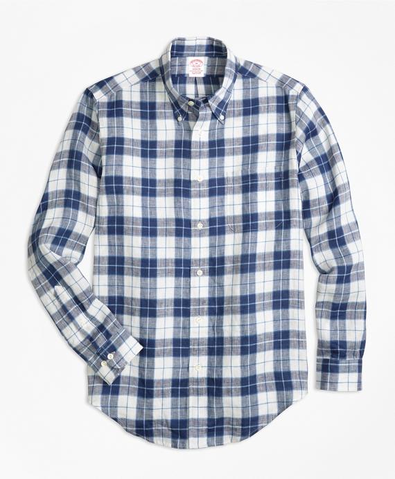 Madison Fit Grid Check Irish Linen Sport Shirt
