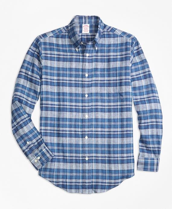 Madison Fit Plaid Irish Linen Sport Shirt