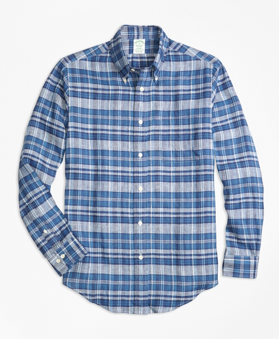 Milano Fit Plaid Irish Linen Sport Shirt Indigo
