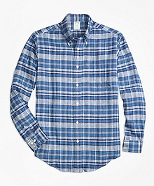 Milano Fit Plaid Irish Linen Sport Shirt