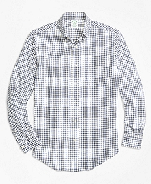Milano Fit Windowpane Irish Linen Sport Shirt