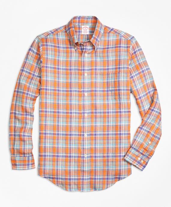 Madison Fit Orange Plaid Irish Linen Sport Shirt