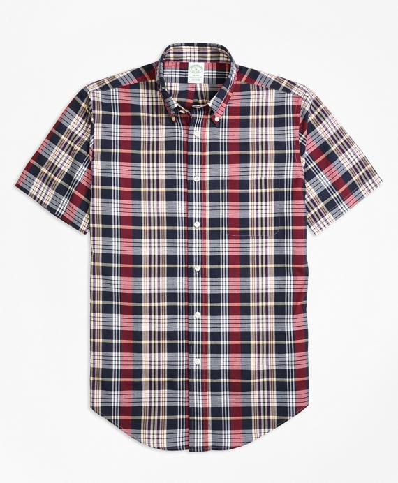 Milano Fit Madras Short-Sleeve Sport Shirt Navy