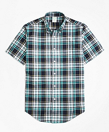 Milano Fit Green Madras Short-Sleeve Sport Shirt