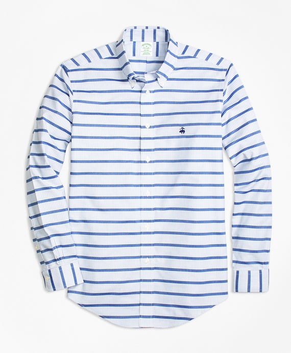 Non-Iron Milano Fit Mariner Stripe Sport Shirt Blue