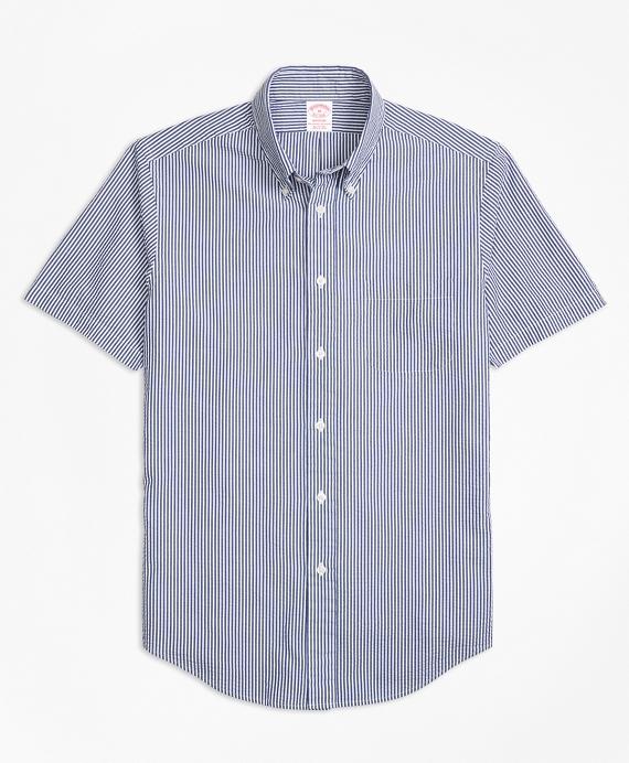 Madison Fit Stripe Seersucker Short-Sleeve Sport Shirt Blue