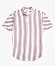 Milano Fit Triple Stripe Seersucker Short-Sleeve Sport Shirt