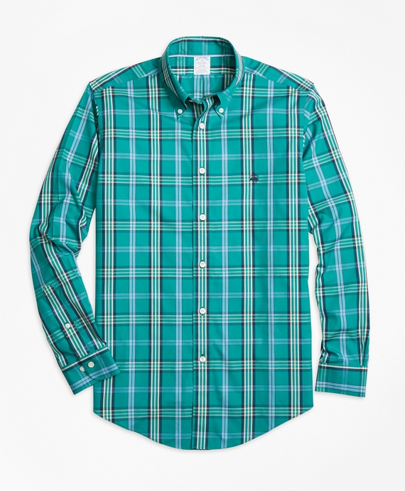 Non-Iron Regent Fit Signature Tartan Sport Shirt Green