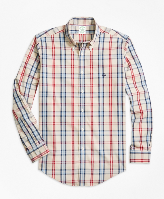 Non-Iron Milano Fit Signature Tartan Sport Shirt Oatmeal