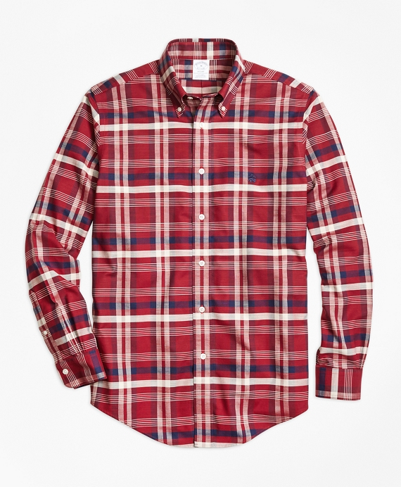 Non-Iron Regent Fit Red Plaid Sport Shirt Red