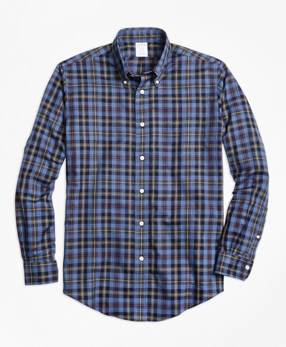 Non-Iron Regent Fit Blue Heathered Plaid Sport Shirt