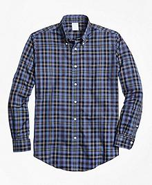 Non-Iron Regent Fit Blue Heathered Plaid Sport Shirt