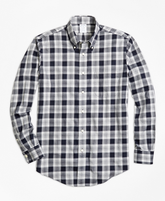 Non-Iron Regent Fit Navy Heathered Plaid Sport Shirt