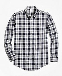 Non-Iron Regent Fit Navy Heathered Plaid Sport Shirt