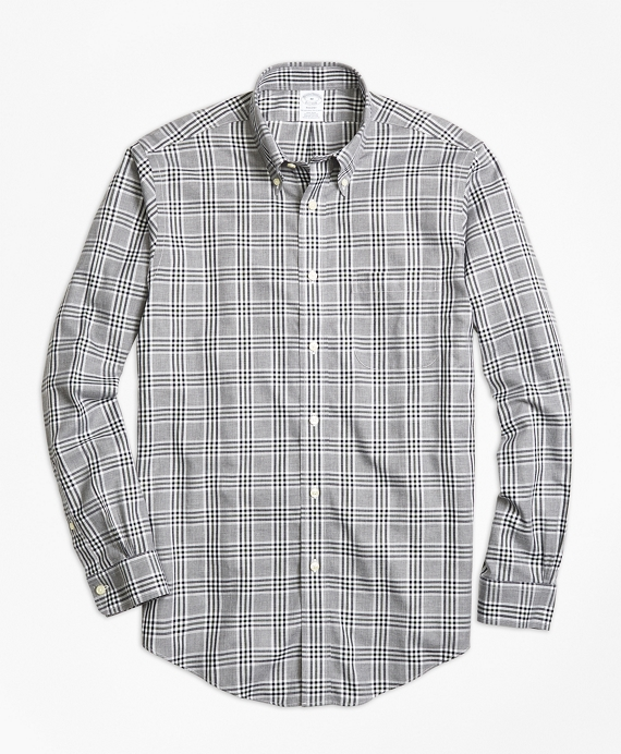 Non-Iron Regent Fit Grey Heathered Plaid Sport Shirt