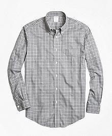 Non-Iron Regent Fit Grey Heathered Plaid Sport Shirt