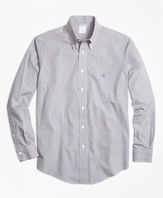 Non-Iron Regent Fit Heathered Glen Plaid Sport Shirt Grey