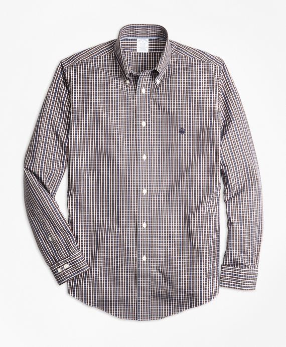 Non-Iron Regent Fit Heathered Multi-Check Sport Shirt Navy-Brown