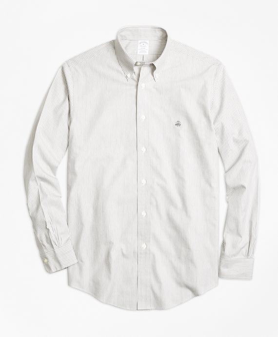 Non-Iron Regent Fit Heathered Stripe Sport Shirt Grey