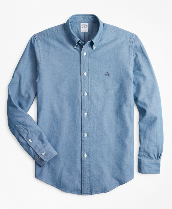 Regent Fit Indigo Dyed Sport Shirt Light Blue