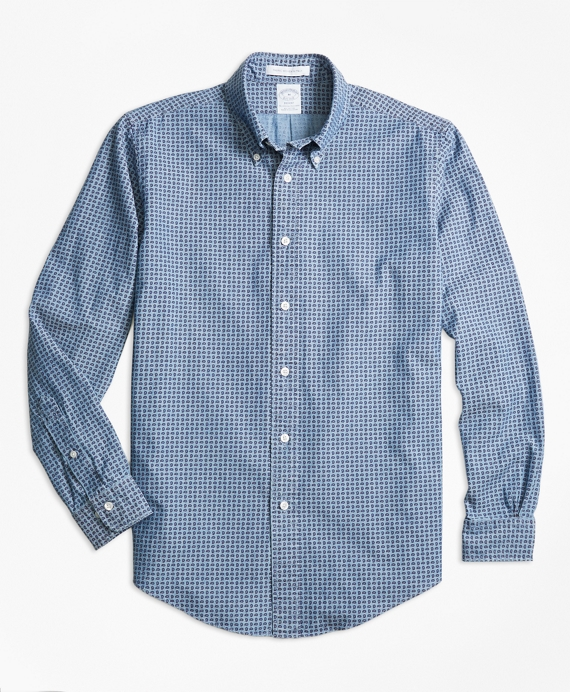 Regent Fit Indigo Dyed Paisley Sport Shirt Light Blue