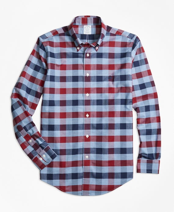 Non-Iron Regent Fit Heathered Bold Gingham Sport Shirt Blue-Red