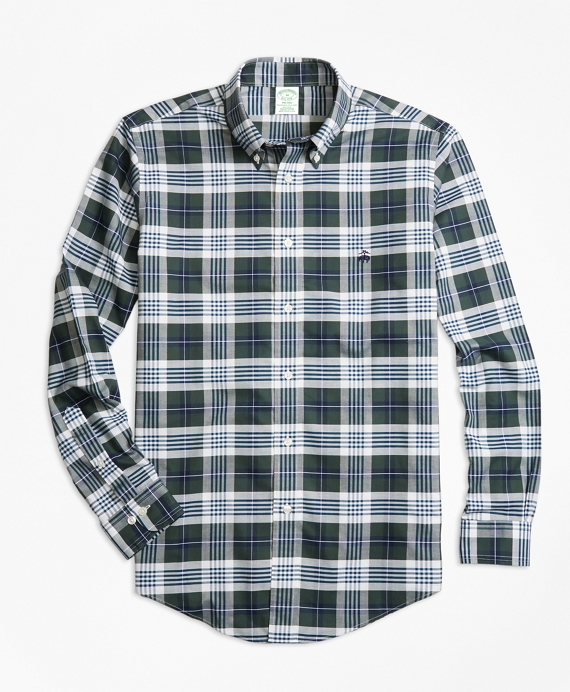 Non-Iron Milano Fit  Plaid Sport Shirt Dark Green
