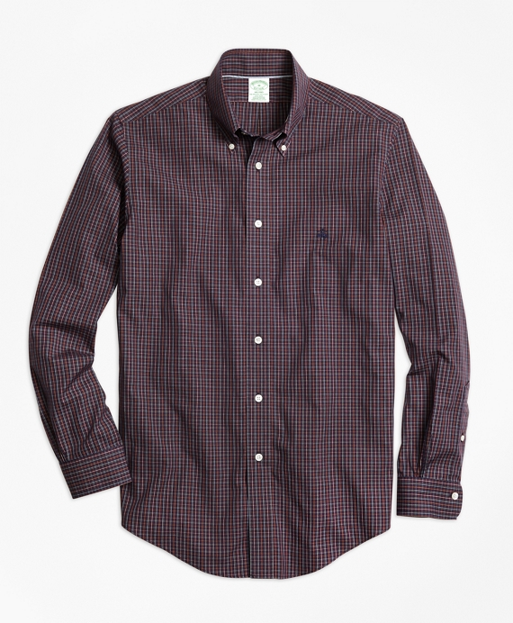 Non-Iron Milano Fit Heathered Check Sport Shirt Burgundy