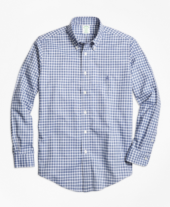 Non-Iron Milano Fit Check Sport Shirt Blue