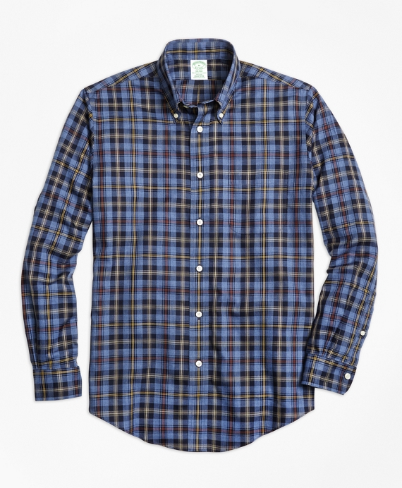 Non-Iron Milano Fit Blue Heathered Plaid Sport Shirt