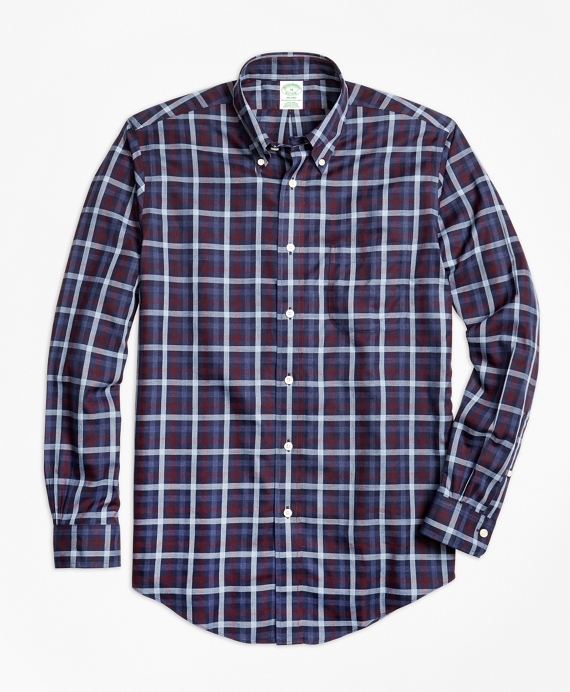 Non-Iron Milano Fit Heathered Plaid Sport Shirt Navy