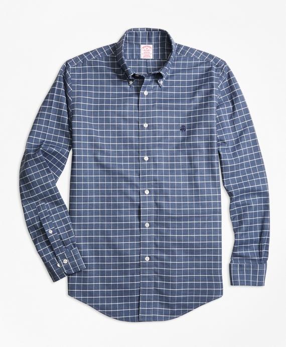Non-Iron Madison Fit Heathered Windowpane Sport Shirt Blue