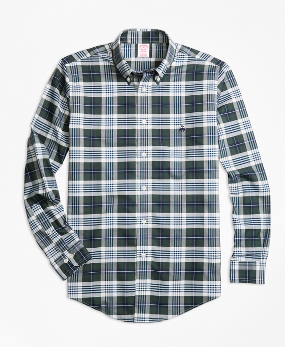 Non-Iron Madison Fit  Plaid Sport Shirt Dark Green