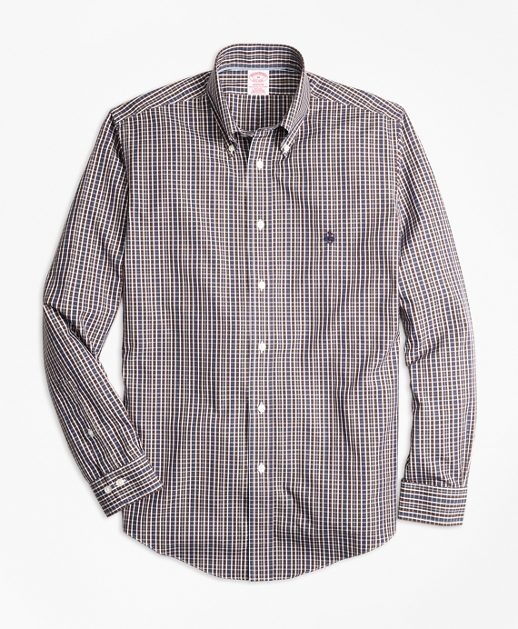 Non-Iron Madison Fit Heathered Multi-Check Sport Shirt