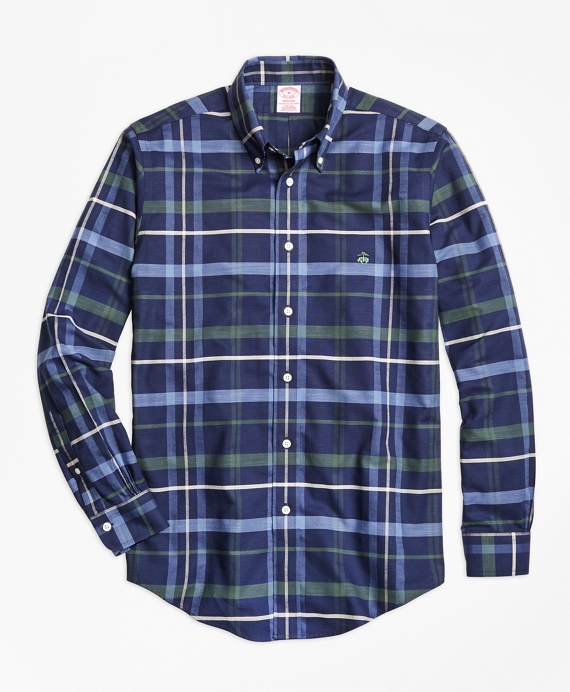 Non-Iron Madison Fit Navy Plaid Sport Shirt