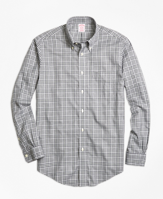 Non-Iron Madison Fit Grey Heathered Plaid Sport Shirt Grey