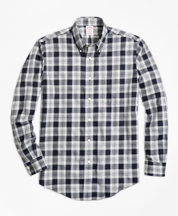 Non-Iron Madison Fit Navy Heathered Plaid Sport Shirt Navy