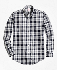 Non-Iron Madison Fit Navy Heathered Plaid Sport Shirt