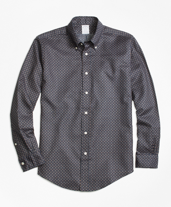 Regent Fit Printed Multi-Paisley Sport Shirt Grey