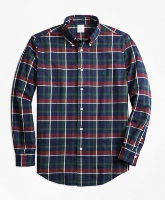 Regent Fit Yarn-Dyed Oxford Navy Plaid Sport Shirt