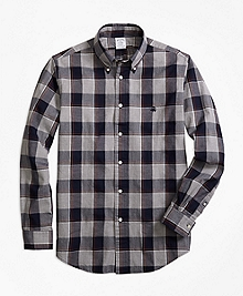 Regent Fit Yarn-Dyed Oxford Grey Plaid Sport Shirt