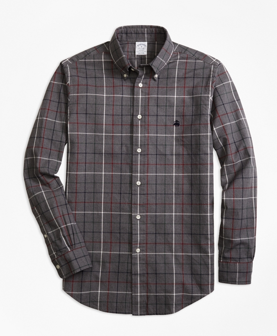 Regent Fit Yarn-Dyed Oxford Windowpane Sport Shirt